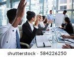 colleagues raising their hands... | Shutterstock . vector #584226250