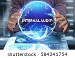 Small photo of Business, Technology, Internet and network concept. Young businessman shows the word on the virtual display of the future: Internal audit