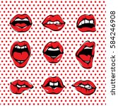 Vector Pop Art Woman Lips Set....