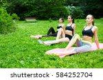 group women doing exercises ... | Shutterstock . vector #584252704