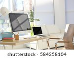 workplace with computer and... | Shutterstock . vector #584258104