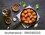 meatballs in cast iron pan on...   Shutterstock . vector #584260210