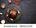 bbq meat  grilled pork on dark... | Shutterstock . vector #584261230
