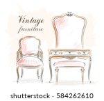 stylish vintage furniture ... | Shutterstock .eps vector #584262610