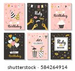 happy birthday greeting card... | Shutterstock .eps vector #584264914