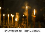 Sacred Burning Candles In The...