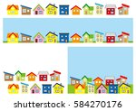 row of a simple house   color  | Shutterstock .eps vector #584270176
