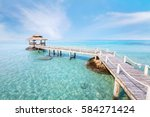 beautiful paradise beach... | Shutterstock . vector #584271424