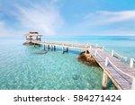 beautiful paradise beach... | Shutterstock . vector #584271424