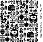 scandinavian seamless folk... | Shutterstock .eps vector #584275279