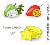Exotic Fruits And Leaves Set O...