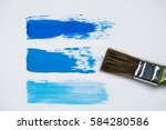 strokes oil paint blue shades... | Shutterstock . vector #584280586
