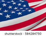 closeup of american usa flag ... | Shutterstock . vector #584284750