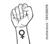 symbol of feminist movement.... | Shutterstock .eps vector #584288098