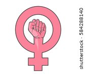 symbol of feminist movement.... | Shutterstock .eps vector #584288140