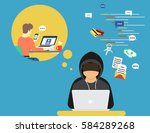 thief or hacker is stealing log ... | Shutterstock .eps vector #584289268