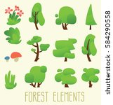 cartoon trees isolated on a... | Shutterstock .eps vector #584290558