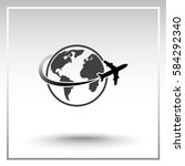 globe with airplane sign icon ... | Shutterstock .eps vector #584292340