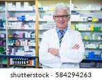 portrait of pharmacist standing ... | Shutterstock . vector #584294263