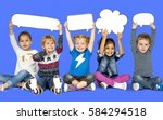 children smiling happiness... | Shutterstock . vector #584294518