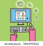 purchasing on desktop | Shutterstock .eps vector #584294563