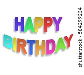 happy birthday paper sign on... | Shutterstock .eps vector #584299234