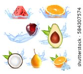 fruits in splashing water. set... | Shutterstock .eps vector #584307574