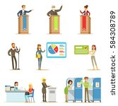 political candidates and voting ... | Shutterstock .eps vector #584308789