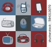 icons of different electronics...   Shutterstock .eps vector #584313070