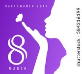 Happy Women's Day women face greeting card, gift card on Purple background with design of a women face and text 8th March International women day