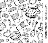 coffee shop seamless pattern....   Shutterstock .eps vector #584318224