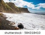 beach of s o miguel a ores  ... | Shutterstock . vector #584318410