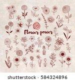 set of doodle sketch flowers on ... | Shutterstock .eps vector #584324896