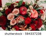 autumnal wedding bouquet of...   Shutterstock . vector #584337238
