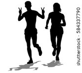 set of silhouettes. runners on... | Shutterstock . vector #584337790