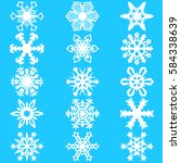 set snowflakes icons on white... | Shutterstock . vector #584338639