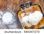 malva pudding and ice cream | Shutterstock . vector #584347273