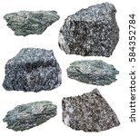 Small photo of collection of various actinolite in Amphibolite mineral stones isolated on white background