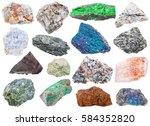 Small photo of collection of various raw mineral stones - uvarovite, vishnevite, actinolite, pintadoite, selenite, tagamite, limonite, scorodite, serpentine, lujaurite, chalcopyrite, etc