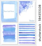 set of hand painted cards.... | Shutterstock .eps vector #584353108