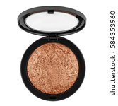 Stock photo brown bronzer powder isolated on white background 584353960