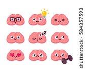 cute cartoon brain emoticons... | Shutterstock .eps vector #584357593