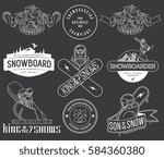 vector snowboarding bundle of... | Shutterstock .eps vector #584360380