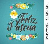 happy easter spanish... | Shutterstock .eps vector #584360434
