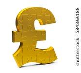 golden puzzle pound sign...   Shutterstock . vector #584366188