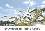 shiny yen money signs piled up. ... | Shutterstock . vector #584372458