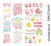 vector set of hand drawn... | Shutterstock .eps vector #584373649