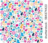 social media pattern icons   Shutterstock .eps vector #584374423
