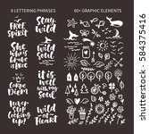 vector set of hand drawn... | Shutterstock .eps vector #584375416