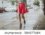 fashionable young woman on a... | Shutterstock . vector #584377684